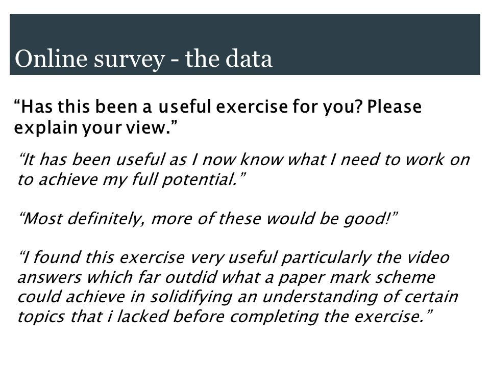 Online survey - the data Has this been a useful exercise for you.