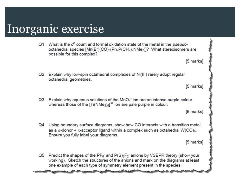 Inorganic exercise