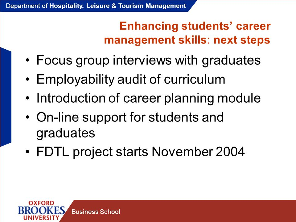 Department of Hospitality, Leisure & Tourism Management Business School Enhancing students career management skills: next steps Focus group interviews with graduates Employability audit of curriculum Introduction of career planning module On-line support for students and graduates FDTL project starts November 2004