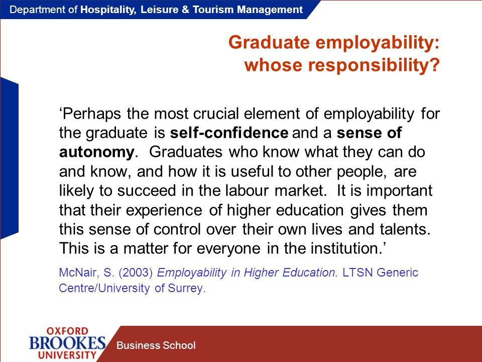 Department of Hospitality, Leisure & Tourism Management Business School Developing employability in higher education Employability development has three aspects: The development of employability attributes The development of self-promotional and career management skills A willingness to learn and reflect on learning