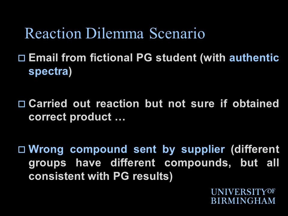 Reaction Dilemma Scenario Email from fictional PG student (with authentic spectra) Carried out reaction but not sure if obtained correct product … Wro