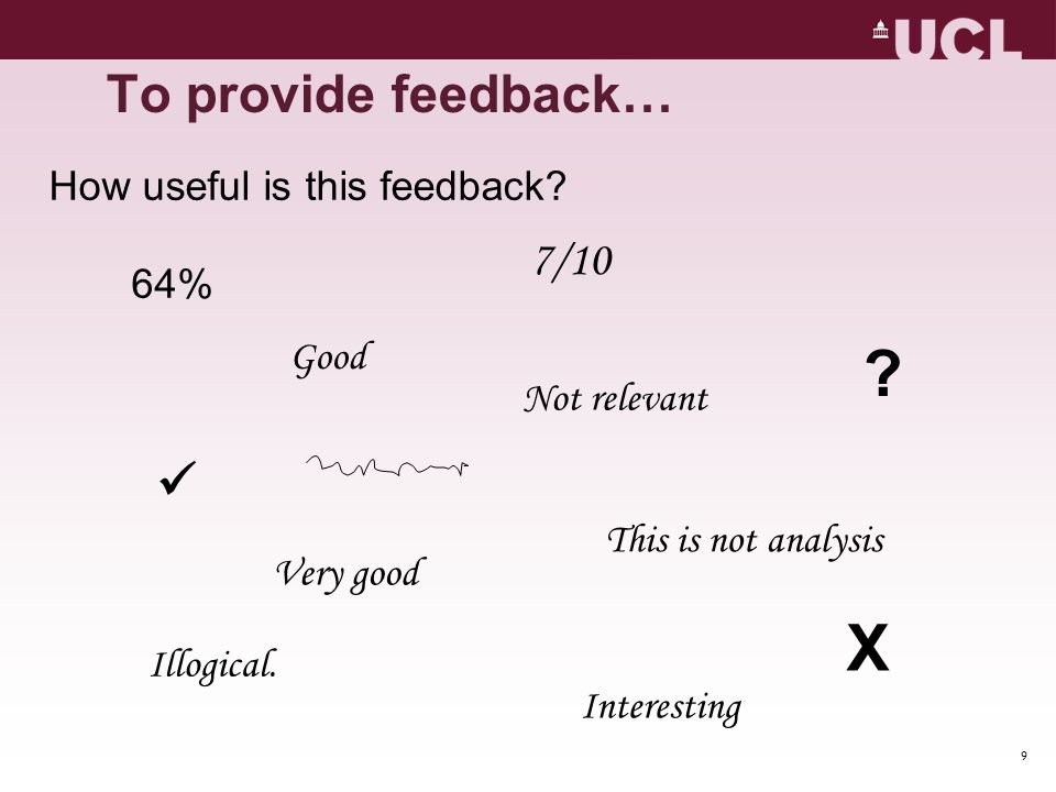 How useful is this feedback? 9 To provide feedback… Good This is not analysis Illogical. Interesting Not relevant ? X Very good 64% 7/10