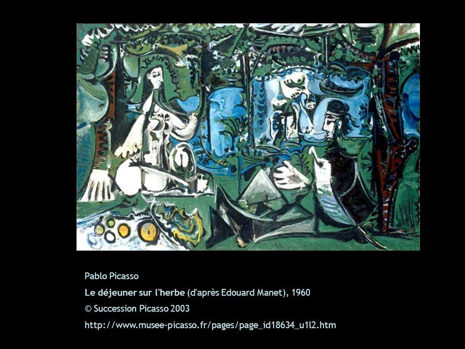 Pablo Picasso Le déjeuner sur l'herbe (d'après Edouard Manet), 1960 © Succession Picasso 2003 http://www.musee-picasso.fr/pages/page_id18634_u1l2.htm