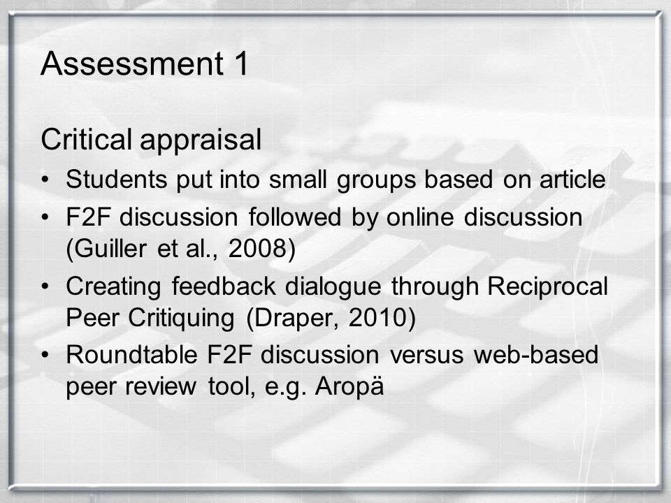 Assessment 1 Critical appraisal Students put into small groups based on article F2F discussion followed by online discussion (Guiller et al., 2008) Cr