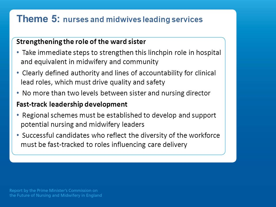 Theme 5: nurses and midwives leading services Strengthening the role of the ward sister Take immediate steps to strengthen this linchpin role in hospi