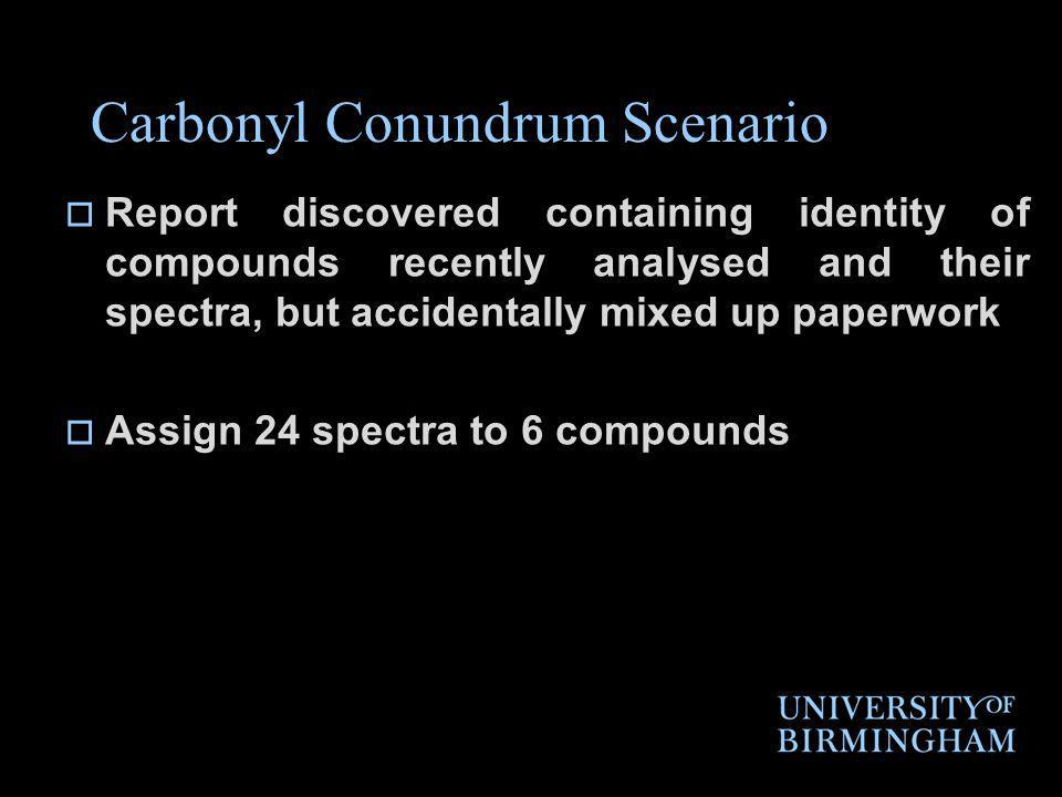 Carbonyl Conundrum Scenario Report discovered containing identity of compounds recently analysed and their spectra, but accidentally mixed up paperwork Assign 24 spectra to 6 compounds