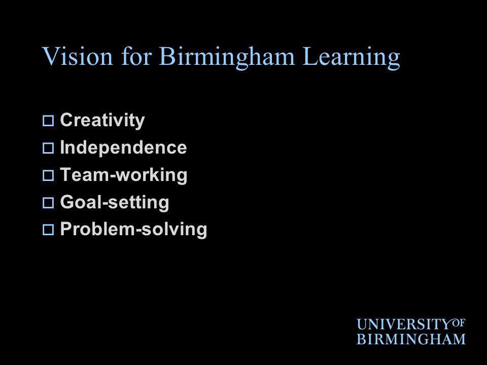 Vision for Birmingham Learning Creativity Independence Team-working Goal-setting Problem-solving