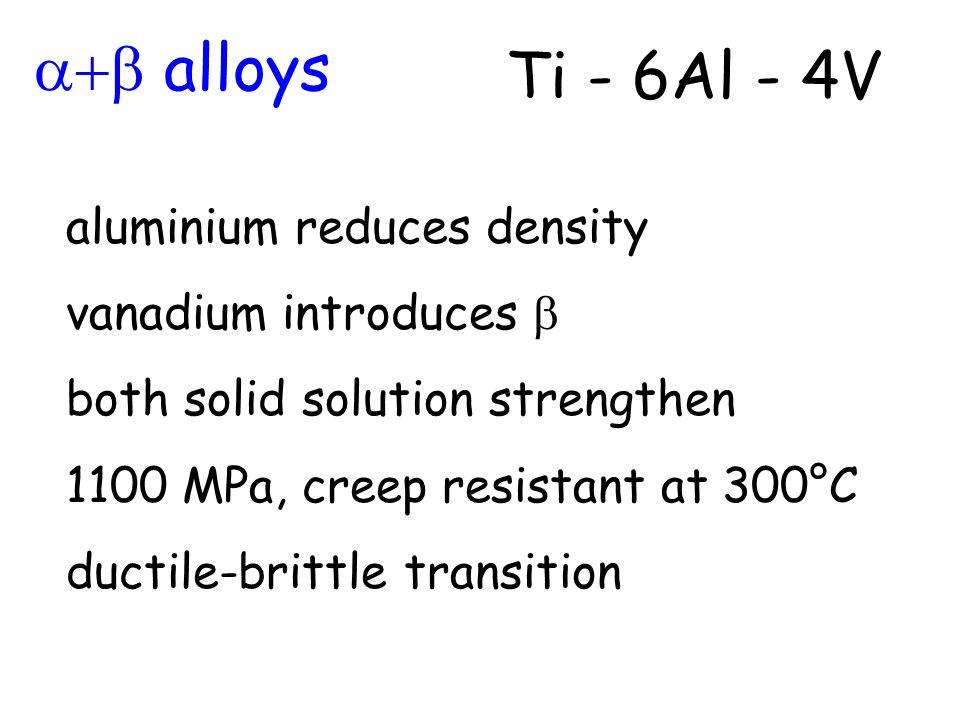 alloys Ti - 6Al - 4V aluminium reduces density vanadium introduces both solid solution strengthen 1100 MPa, creep resistant at 300°C ductile-brittle t