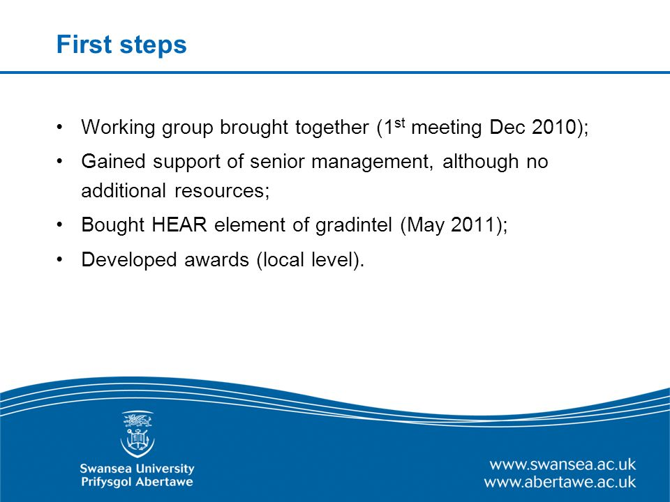 First steps Working group brought together (1 st meeting Dec 2010); Gained support of senior management, although no additional resources; Bought HEAR element of gradintel (May 2011); Developed awards (local level).