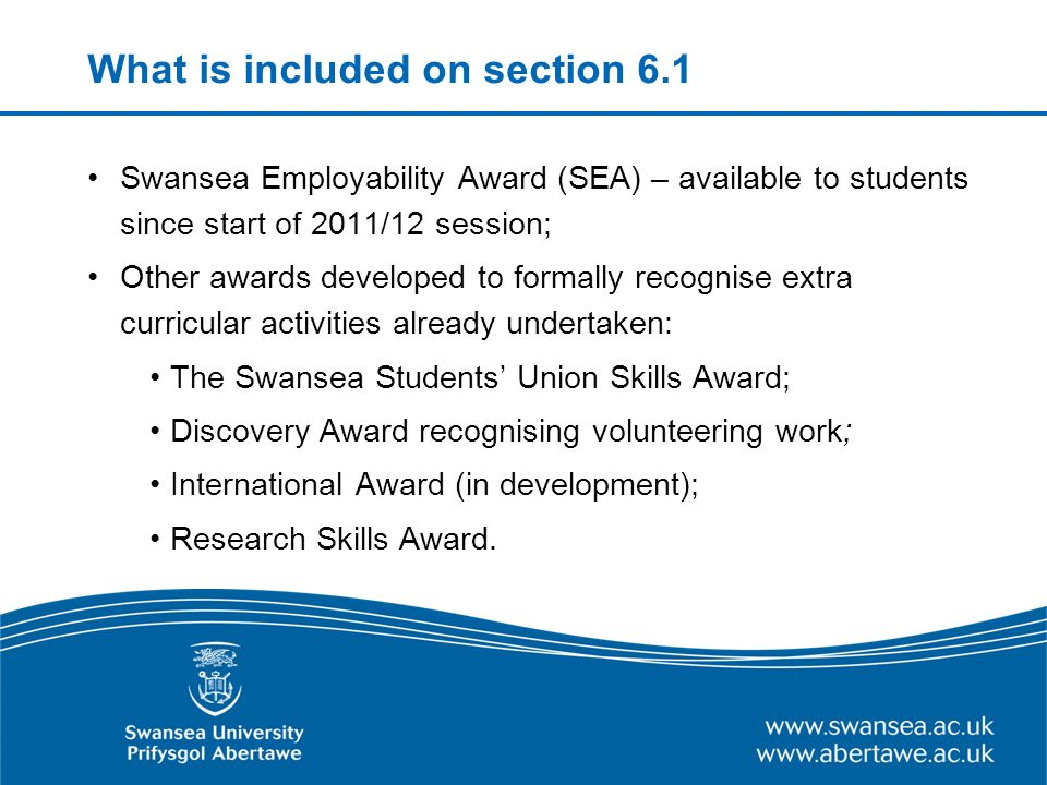 What is included on section 6.1 continued All prizes (University/College/departmental); Language skills Mobility/Industrial placements Internships.