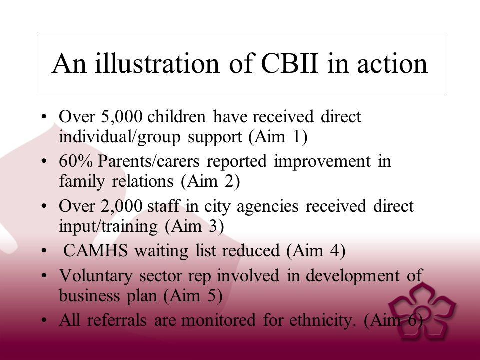 An illustration of CBII in action Over 5,000 children have received direct individual/group support (Aim 1) 60% Parents/carers reported improvement in family relations (Aim 2) Over 2,000 staff in city agencies received direct input/training (Aim 3) CAMHS waiting list reduced (Aim 4) Voluntary sector rep involved in development of business plan (Aim 5) All referrals are monitored for ethnicity.