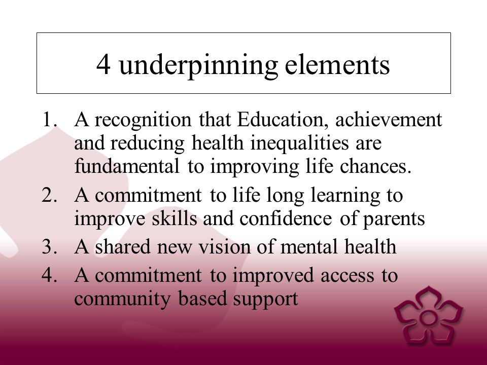 4 underpinning elements 1.A recognition that Education, achievement and reducing health inequalities are fundamental to improving life chances.