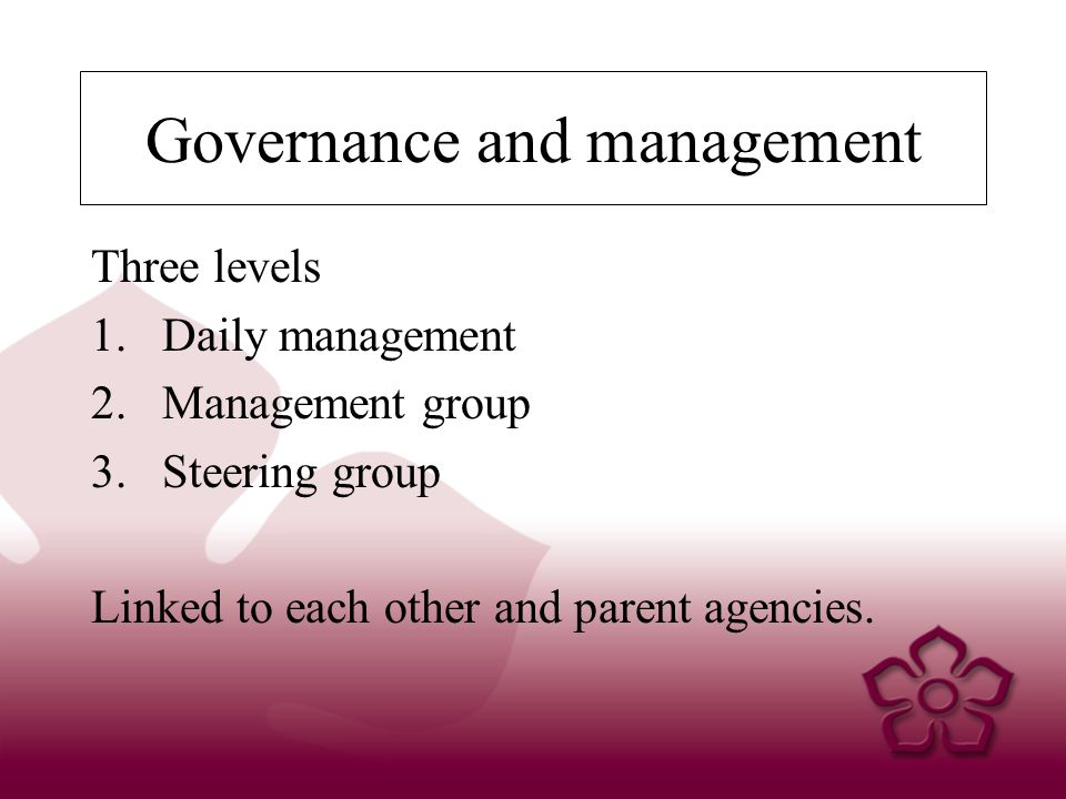 Governance and management Three levels 1.Daily management 2.Management group 3.Steering group Linked to each other and parent agencies.