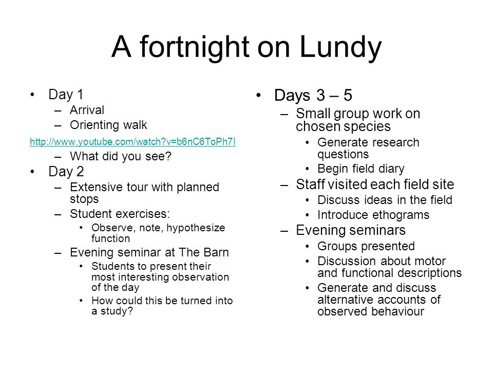 A fortnight on Lundy Day 1 –Arrival –Orienting walk http://www.youtube.com/watch v=b6nC6ToPh7I –What did you see.