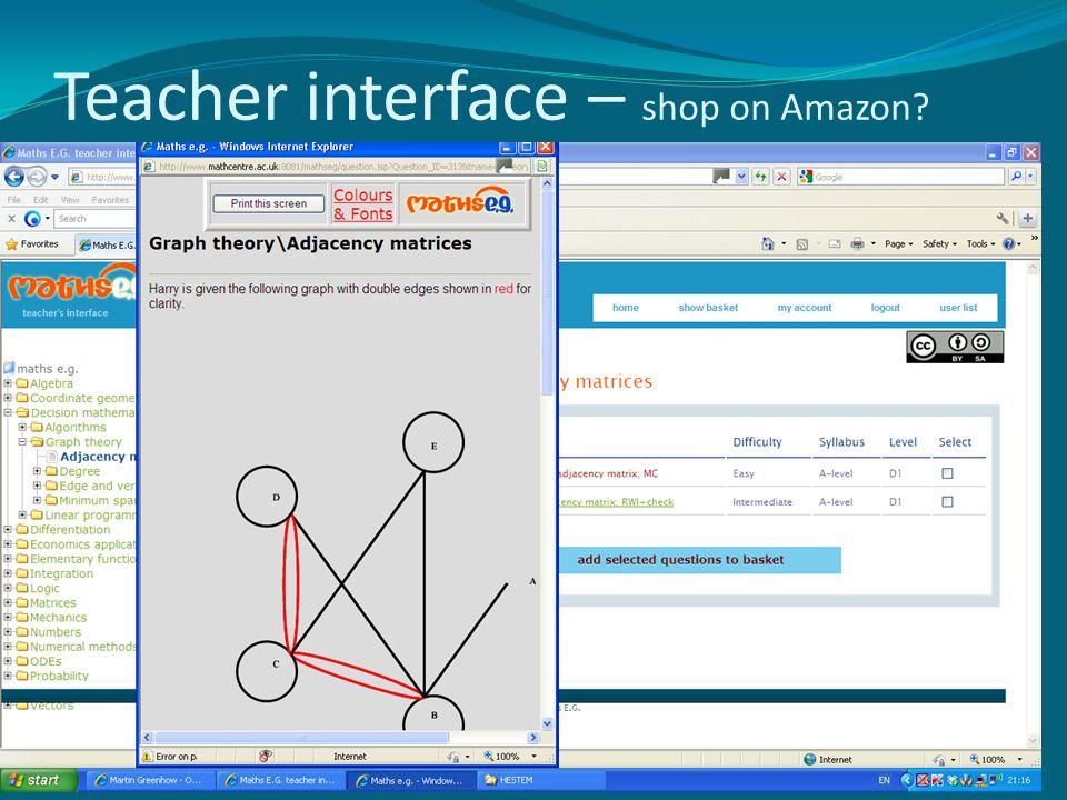 Teacher interface – shop on Amazon