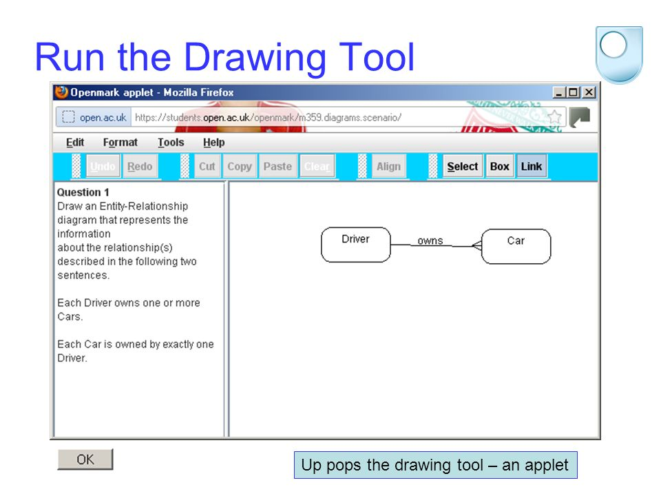 STEM 2012 Run the Drawing Tool Up pops the drawing tool – an applet