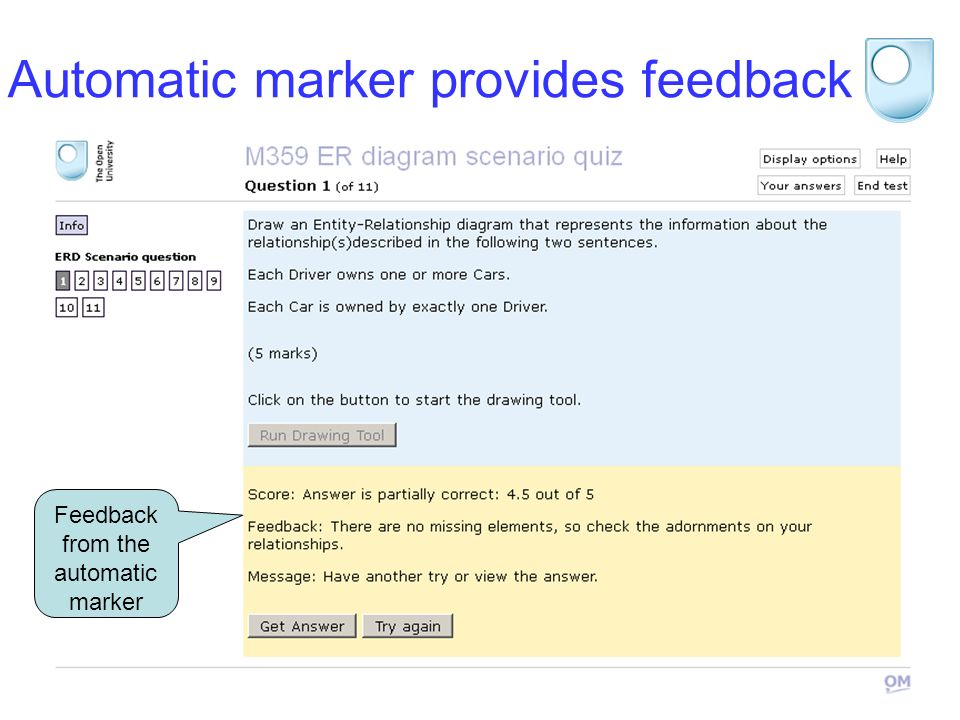 STEM 2012 Automatic marker provides feedback Feedback from the automatic marker