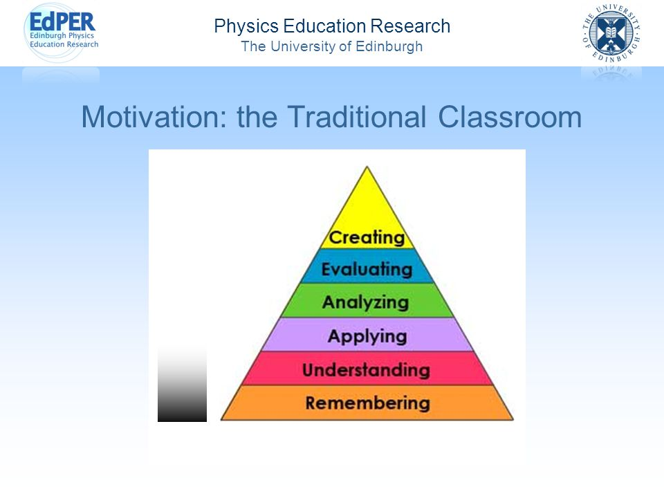 Physics Education Research The University of Edinburgh Motivation: the Traditional Classroom