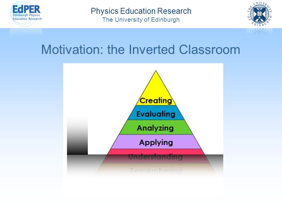Physics Education Research The University of Edinburgh Motivation: the Inverted Classroom