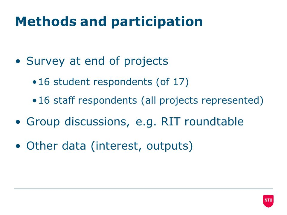 Methods and participation Survey at end of projects. 16 student respondents (of 17). 16 staff respondents (all projects represented). Group discussion