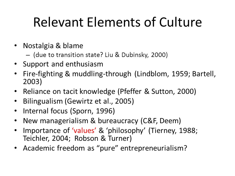 Relevant Elements of Culture Nostalgia & blame – (due to transition state? Liu & Dubinsky, 2000) Support and enthusiasm Fire-fighting & muddling-throu