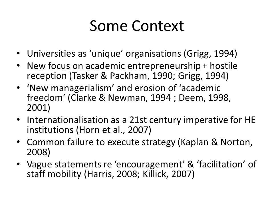 Managing Universities Organised anarchies (March & Olsen, 1976) Professional bureaucracies (Mintzberg, 1979) New managerialism (Clarke & Newman, 1994; Deem, 1998, 2001) Machine bureaucracies.