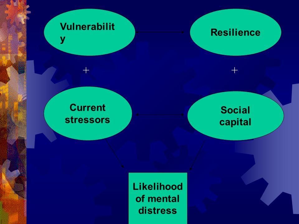 Vulnerabilit y Resilience Current stressors Social capital Likelihood of mental distress + +