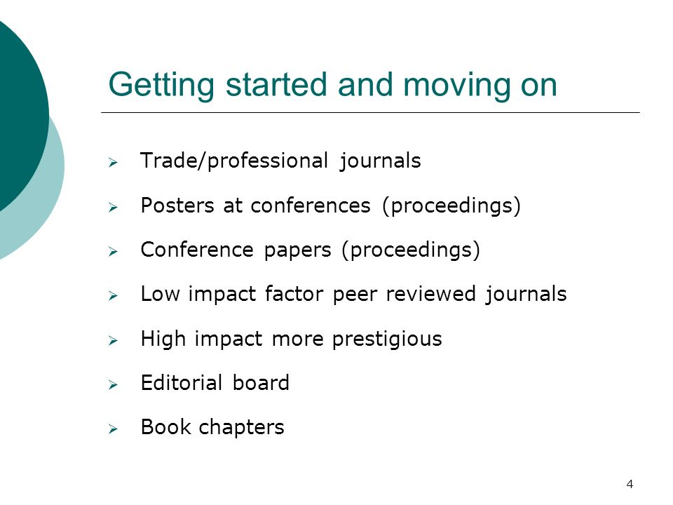 4 Getting started and moving on Trade/professional journals Posters at conferences (proceedings) Conference papers (proceedings) Low impact factor pee