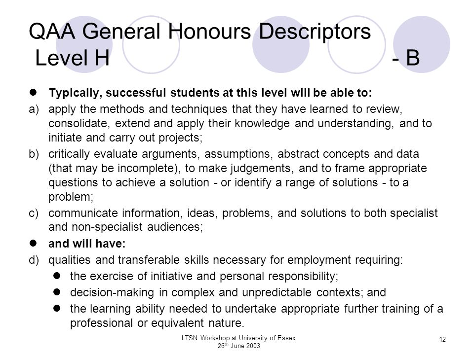LTSN Workshop at University of Essex 26 th June 2003 12 QAA General Honours Descriptors Level H - B Typically, successful students at this level will