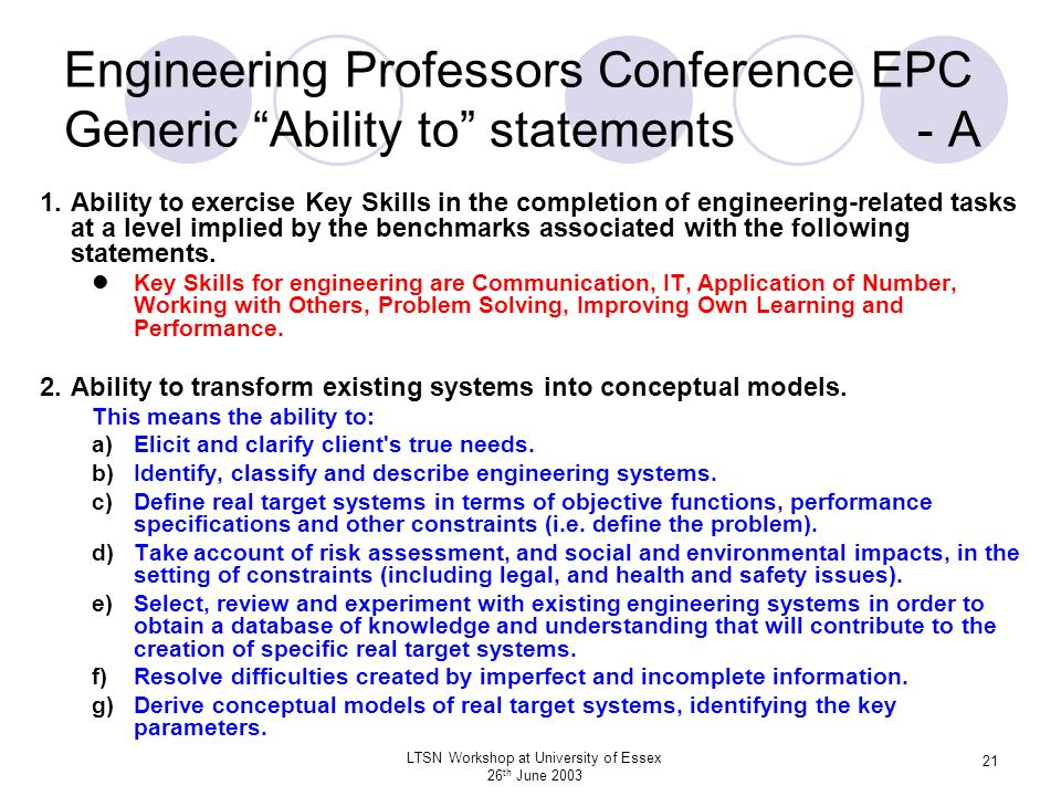 LTSN Workshop at University of Essex 26 th June 2003 21 Engineering Professors Conference EPC Generic Ability to statements - A 1.Ability to exercise