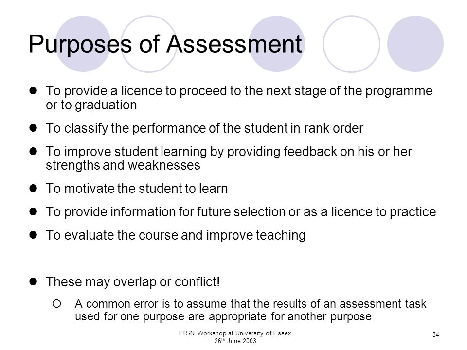 LTSN Workshop at University of Essex 26 th June 2003 34 Purposes of Assessment To provide a licence to proceed to the next stage of the programme or t