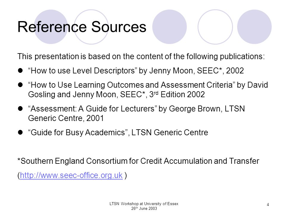 LTSN Workshop at University of Essex 26 th June 2003 5 Background A Programme defines study or learning required to achieve an award or qualification A Programme Specification is required by the QAA for each award or qualification and defines the threshold learning outcomes for the programme A Programme comprises a number of Modules each of which is separately assessed and earns credit when successfully completed Using the outcomes model each Module Description defines the intended (threshold?) learning outcomes, the syllabus coverage and the assessment methods and criteria for the module.