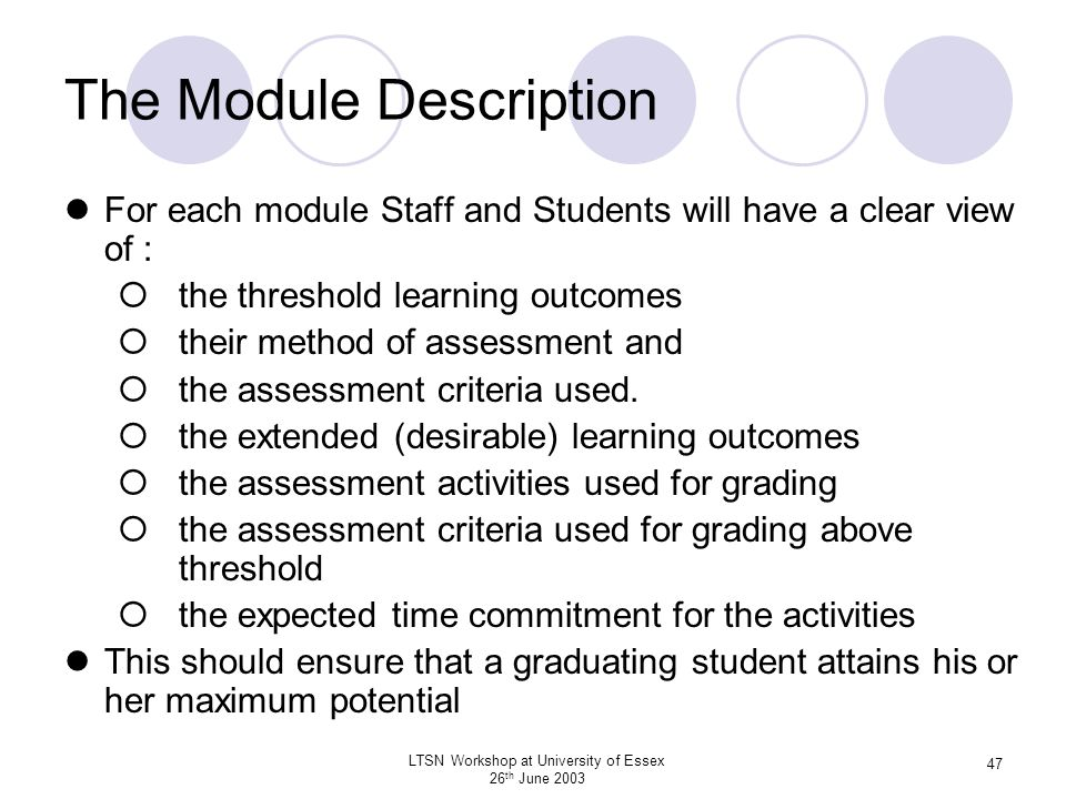 LTSN Workshop at University of Essex 26 th June 2003 47 The Module Description For each module Staff and Students will have a clear view of : the thre