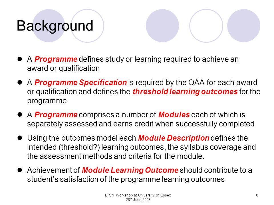 LTSN Workshop at University of Essex 26 th June 2003 26 Writing Module Specifications Clearly identify the intended level of the module Formulate clear and unambiguous intended threshold and possibly desirable learning outcomes for the module The threshold learning outcomes identify the essential learning to merit the award of the credits for this module Desirable learning outcomes can be included to provide guidance of learning above threshold which will be assessed to provide grading Identify assessment criteria that encourage learning at the appropriate level Threshold assessment criteria should specify how satisfactory performance of the threshold module learning outcomes can be demonstrated Grading-related assessment criteria are used to provide incentive for higher achievement above threshold performance