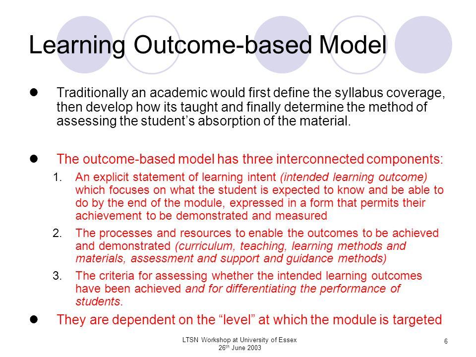 LTSN Workshop at University of Essex 26 th June 2003 7 Level / Qualification Descriptors.