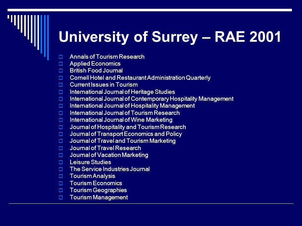 University of Surrey – RAE 2001 Annals of Tourism Research Applied Economics British Food Journal Cornell Hotel and Restaurant Administration Quarterly Current Issues in Tourism International Journal of Heritage Studies International Journal of Contemporary Hospitality Management International Journal of Hospitality Management International Journal of Tourism Research International Journal of Wine Marketing Journal of Hospitality and Tourism Research Journal of Transport Economics and Policy Journal of Travel and Tourism Marketing Journal of Travel Research Journal of Vacation Marketing Leisure Studies The Service Industries Journal Tourism Analysis Tourism Economics Tourism Geographies Tourism Management