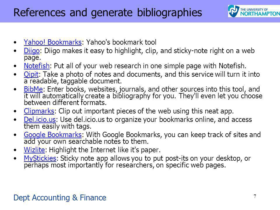 Dept Accounting & Finance 7 References and generate bibliographies Yahoo.