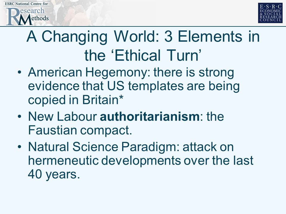 A Changing World: 3 Elements in the Ethical Turn American Hegemony: there is strong evidence that US templates are being copied in Britain* New Labour