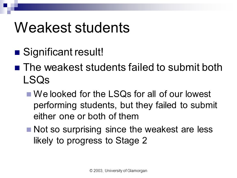 © 2003, University of Glamorgan Weakest students Significant result! The weakest students failed to submit both LSQs We looked for the LSQs for all of