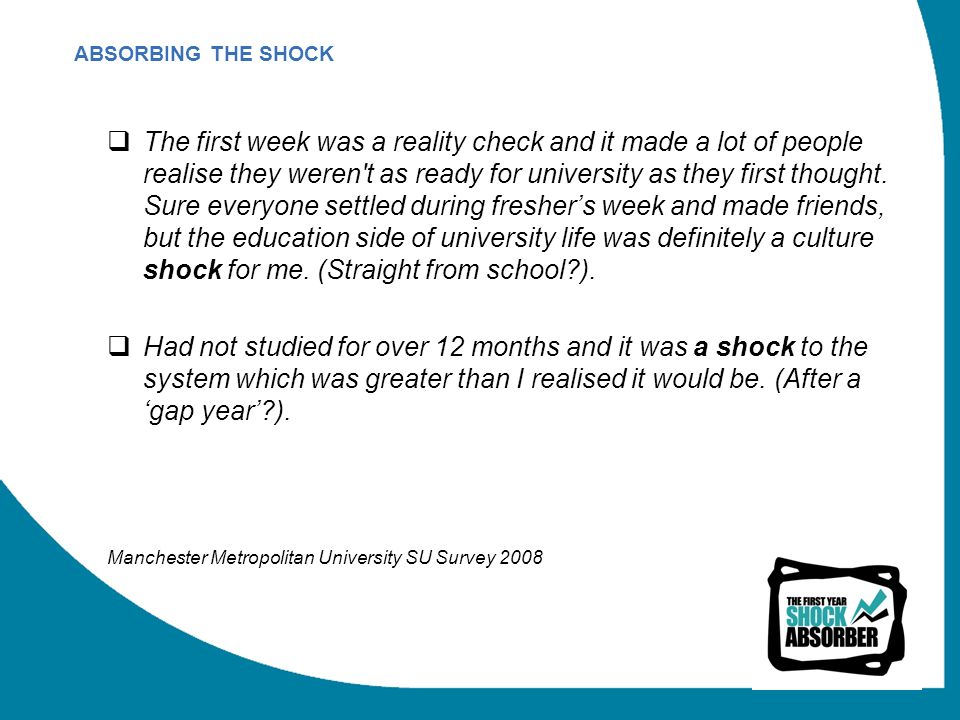 The first week was a reality check and it made a lot of people realise they weren t as ready for university as they first thought.
