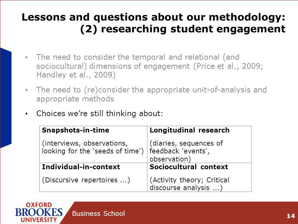Lessons and questions about our methodology: (2) researching student engagement The need to consider the temporal and relational (and sociocultural) d
