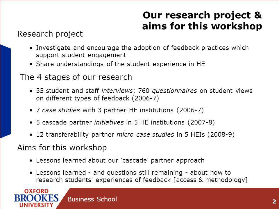 Our research project & aims for this workshop Research project Investigate and encourage the adoption of feedback practices which support student enga
