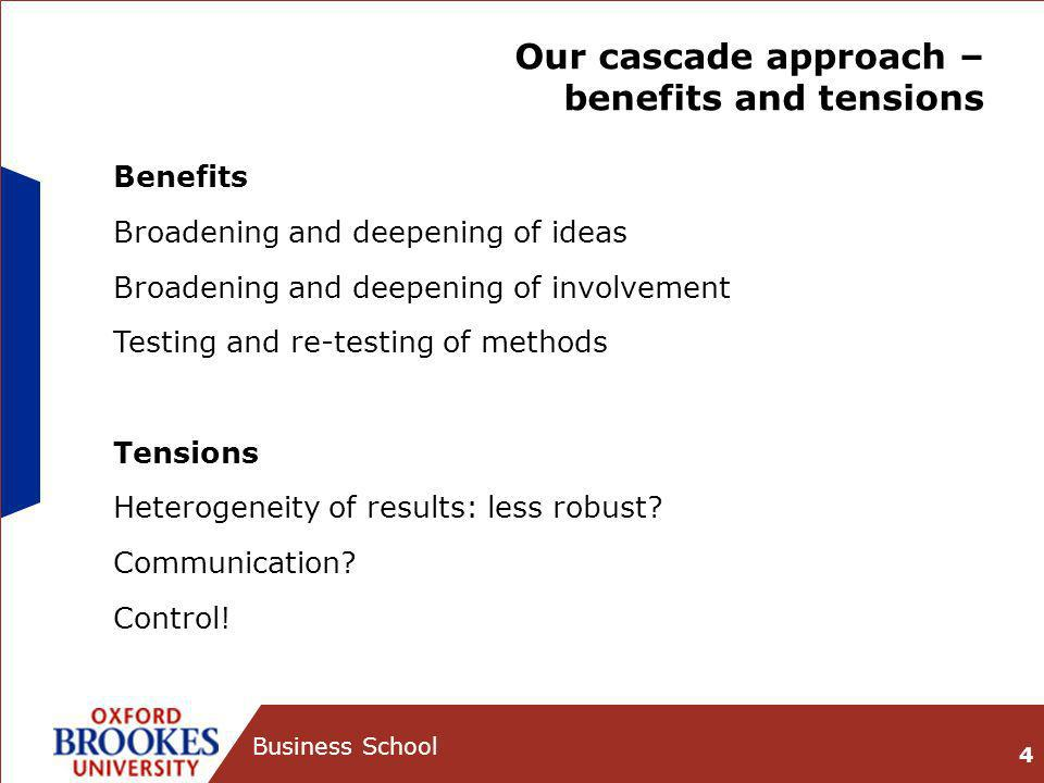 Our cascade approach – benefits and tensions 4 Business School Benefits Broadening and deepening of ideas Broadening and deepening of involvement Testing and re-testing of methods Tensions Heterogeneity of results: less robust.