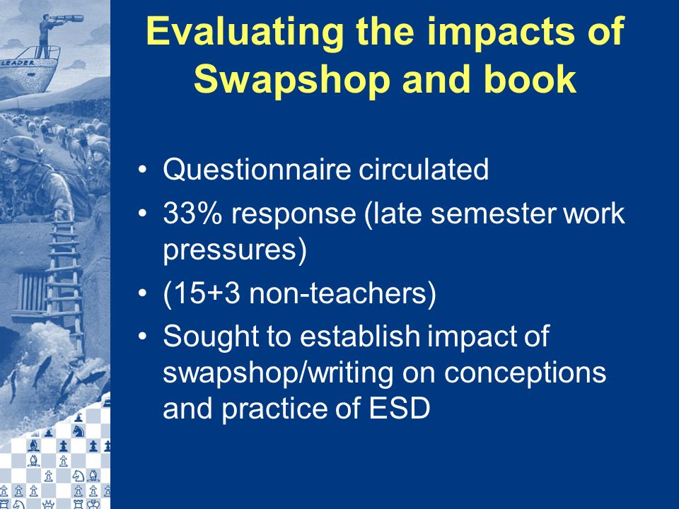 Evaluating the impacts of Swapshop and book Questionnaire circulated 33% response (late semester work pressures) (15+3 non-teachers) Sought to establish impact of swapshop/writing on conceptions and practice of ESD