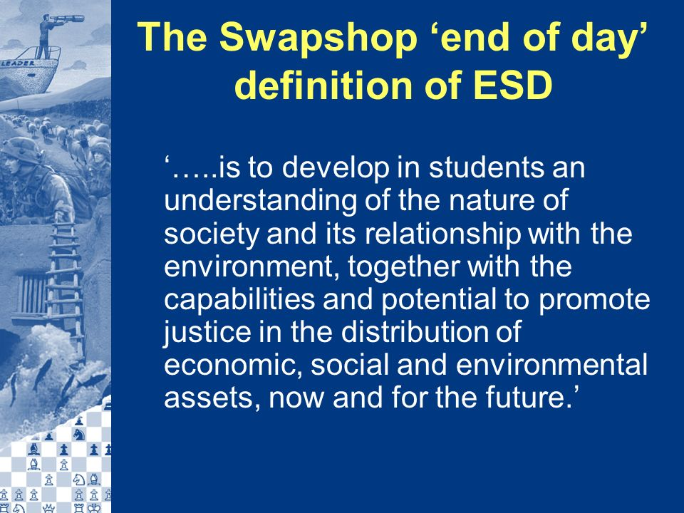 Producing the book All those who had contributed case studies or expressed an interest were asked (?!) to develop the template into a short chapter Some students also invited to write commentary on their experiences of ESD Roberts & Roberts offered advice, edited for style, consistency etc.