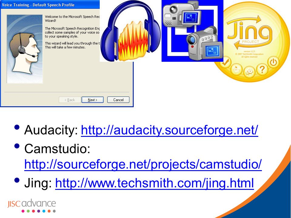 Audacity: http://audacity.sourceforge.net/http://audacity.sourceforge.net/ Camstudio: http://sourceforge.net/projects/camstudio/ http://sourceforge.net/projects/camstudio/ Jing: http://www.techsmith.com/jing.htmlhttp://www.techsmith.com/jing.html