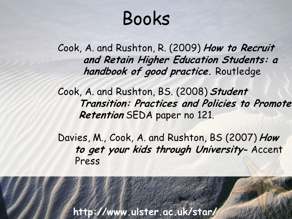 http://www.ulster.ac.uk/star/ Books Davies, M., Cook, A.
