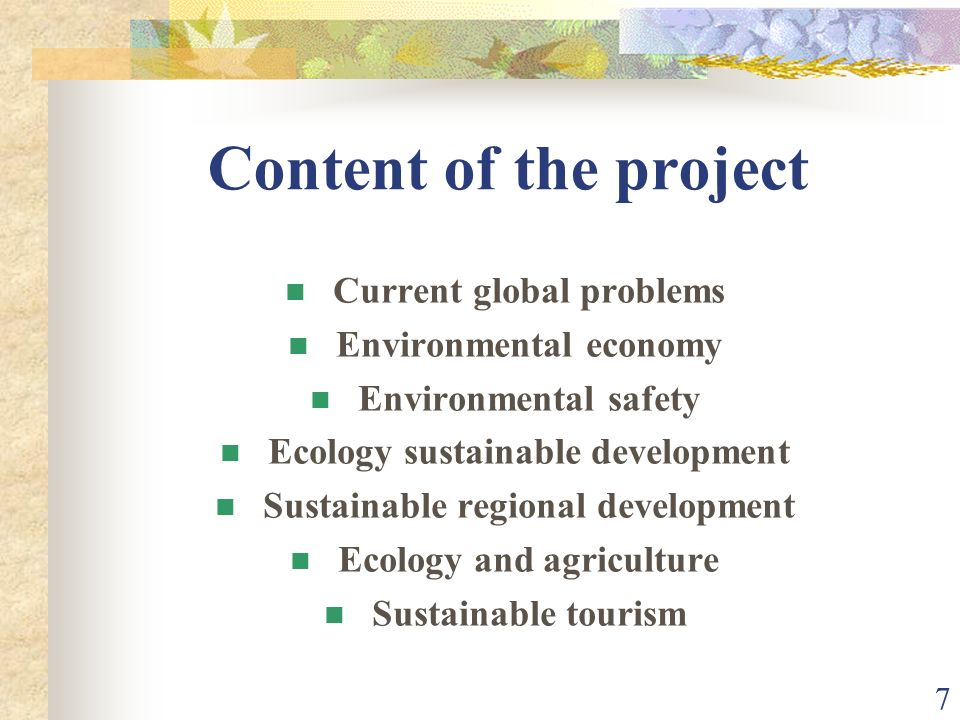 7 Content of the project Current global problems Environmental economy Environmental safety Ecology sustainable development Sustainable regional development Ecology and agriculture Sustainable tourism