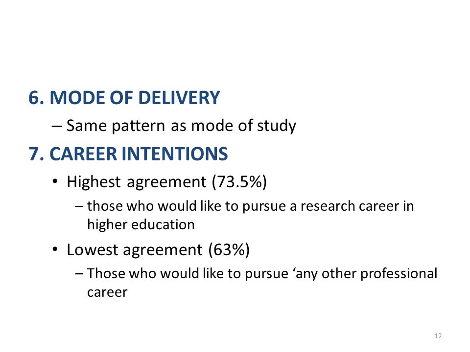 6. MODE OF DELIVERY – Same pattern as mode of study 7.