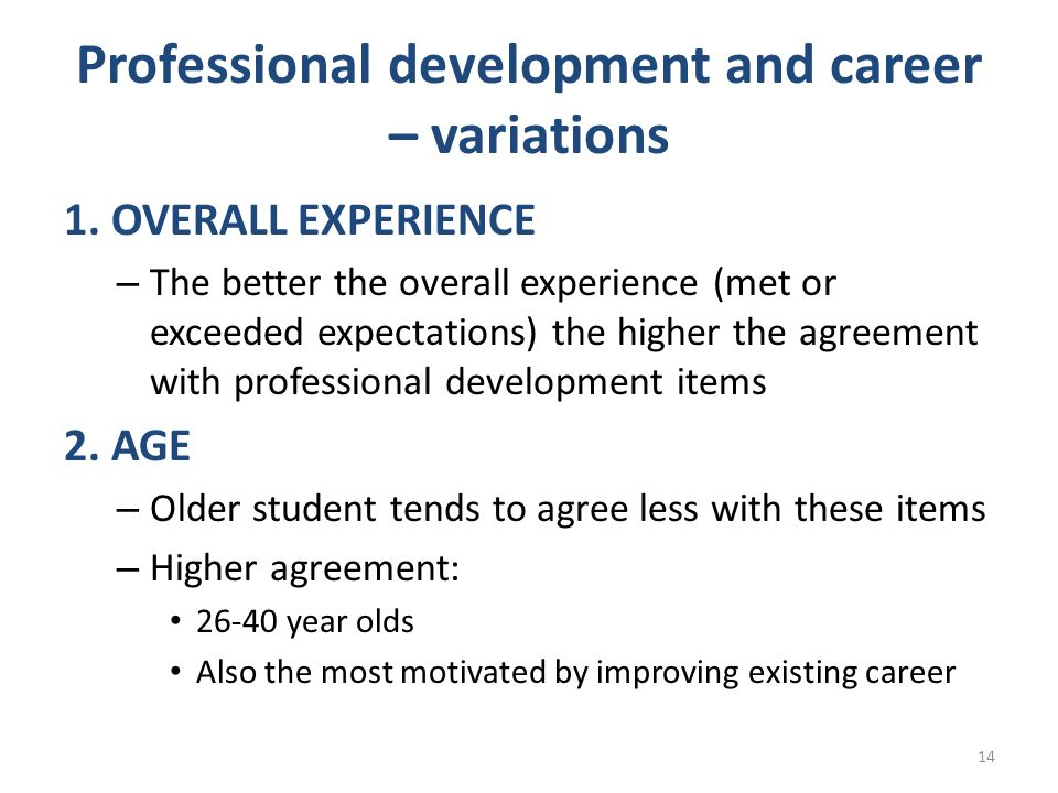 Professional development and career – variations 1. OVERALL EXPERIENCE – The better the overall experience (met or exceeded expectations) the higher t